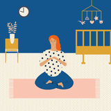 Maternity pregnant woman doing yoga at home, meditating.  exercise for  in vector. Healthy lifestyle flat style Royalty Free Stock Photo