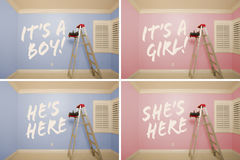 Maternity Series of Pink And Blue Empty Rooms Royalty Free Stock Photography