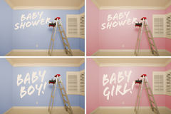 Maternity Series of Pink And Blue Empty Rooms. With Ladder and Paint Supplies - XXXL Stock Image