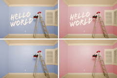 Maternity Series of Pink And Blue Empty Rooms Stock Photos