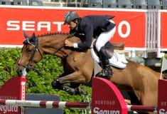 Mateu Vivas in action rides horse Wienta Parflan Royalty Free Stock Photo
