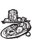 matgreece symboler Stock Illustrationer