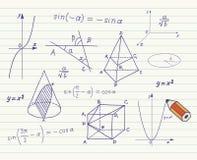 Mathématiques - formes et expressions géométriques illustration stock