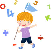 Math. Boy and math-illustration art Stock Images