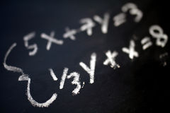 Math. Equality on a blackboard Stock Photo