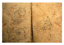 Math. Photocomposition of handwritten mathematical geometry drawings Royalty Free Stock Photos