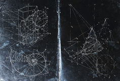 Math. Photocomposition of handwritten mathematical geometry drawings Stock Photography