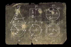 Math. Photocomposition of handwritten mathematical geometry drawings Royalty Free Stock Image