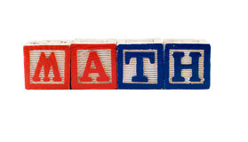 Math. The word Math spelled using baby letter blocks, isolated against a white background Stock Photos