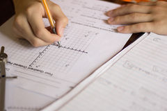 Math and Algebra Homework. Math Algebra equations graphs coordinates homework royalty free stock image