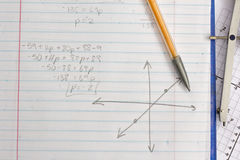 Math and Algebra Homework. Math Algebra equations graphs coordinates homework royalty free stock photo