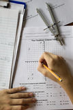 Math and Algebra Homework. Math Algebra equations graphs coordinates homework stock image