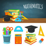Math backdrop and icons Stock Images