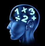 Math brain calculating head symbol vector illustration