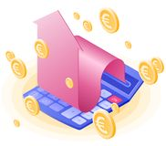 The math calculator, growing arrow, euros coin gold rain. Flat vector isometric illustration. The finance success, win, profit, mobile banking, stockmarket stock illustration