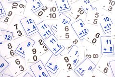 Math Cards. Addition Math Cards (blue) Subtraction Math Cards (black) randomly spread out on table. Educational School Supplies Royalty Free Stock Photos