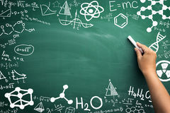 Math, chemistry and physics. Formulas from school classes written on chalkboard Royalty Free Stock Image