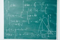 Math class. Algebra. The formulas are written on the school board.  royalty free stock photography