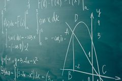Math class. Algebra. The formulas are written on the school board.  stock photo