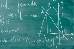 Math class. Algebra. The formulas are written on the school board.  stock image
