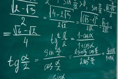 Math class. Algebra. The formulas are written on the school board.  royalty free stock images