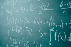 Math class. Algebra. The formulas are written on the school board.  royalty free stock image