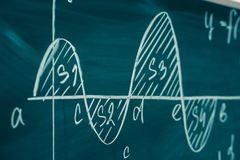 Math class. Algebra. Graph and formulas are written on the school board.  royalty free stock image