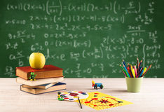 Math class from student school desk Royalty Free Stock Photos