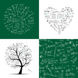 Math collection frame, tree, seamless background. Math collection: frame, tree, seamless background Royalty Free Stock Image
