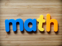 Math concept. In toy letters royalty free stock photos