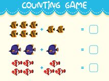 Math counting game template vector illustration