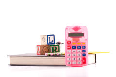 Math Education. With Calculator, Books, And Other Supplies royalty free stock image