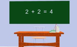 Math education. Concept illustrated with 3d objects Stock Image