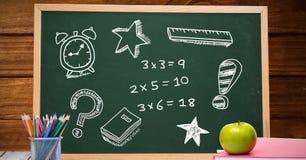 Math education drawings on blackboard for school. Digital composite of Math education drawings on blackboard for school royalty free stock image