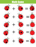 Math educational counting game for children, addition worksheet. Calculate the ladybug dots. Mathematics educational game for children. Learning counting Stock Images