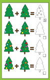Math educational counting game for children, addition worksheet, christmas theme. Mathematics educational game for children. Learning counting, addition vector illustration