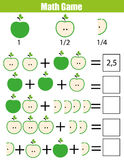 Math educational counting game for children, addition worksheet. Learning fractions, half, quarters. Mathematics educational game for children. Learning counting vector illustration