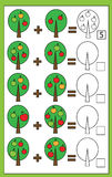Math educational counting game for children, addition worksheet. Mathematics educational game for children. Learning counting, addition worksheet for kids vector illustration