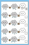 Math educational counting game for children, addition worksheet. Mathematics educational game for children. Learning counting, addition worksheet for kids Royalty Free Stock Photos
