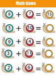 Math educational counting game for children, worksheet. Learning addition. Mathematics educational game for children. Learning counting, addition worksheet for Royalty Free Stock Image