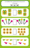 Math educational game for children. Complete the mathematical equation task, choose more, less or equal. Mathematics educational game for children. Learning Royalty Free Stock Photo