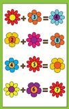 Math educational game for children. Counting equations. Addition worksheet. Math educational game for children. Counting equations. Addition worksheet Royalty Free Stock Image