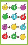 Math educational game for children. Counting equations. Addition worksheet. Math educational game for children. Counting equations. Addition worksheet Stock Photography