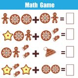 Math educational game for children. Counting equations. Addition worksheet. Christmas theme.  stock illustration
