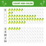 Math educational game for children. Counting equations. Addition worksheet. Count and color royalty free illustration