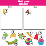 Math educational game for children. Learning even and odd numbers. Mathematics kids activity Royalty Free Stock Images