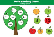 Math educational game for children. Matching mathematics activity. Counting game for kids, addition. Math educational game for children. Matching mathematics royalty free illustration