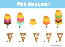 Math educational game for children. Matching mathematics activity. Counting game for kids. Match ice cream with cone Royalty Free Stock Images
