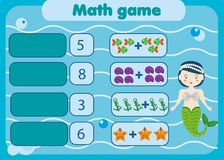 Math educational game for children. Matching mathematics activity. Counting game for kids royalty free illustration