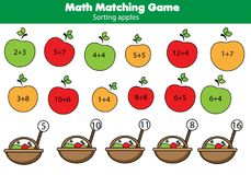 Math educational game for children. Matching mathematics activity. Counting game for kids stock illustration